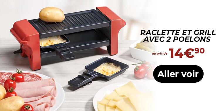 Raclette et Grill avec 2 poelons Ktichencook à 14€90
